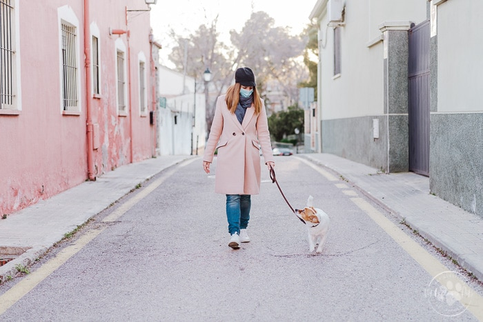 woman in pink petticoat and fask mask walking gold dog on leash down middle of street
