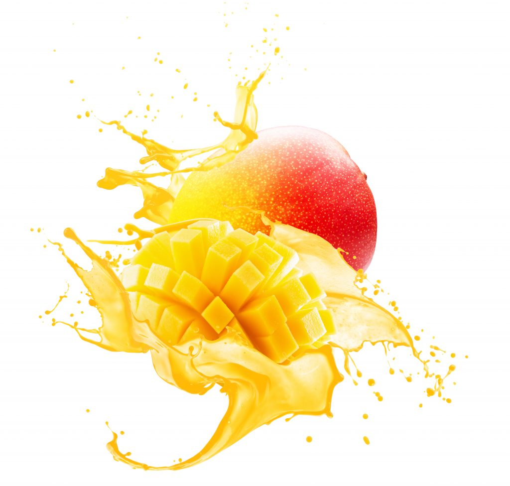 picture of a mango being cut with juice coming out