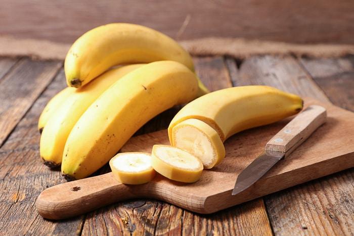 banana slices on cutting board