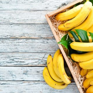 bananas in a wood tray