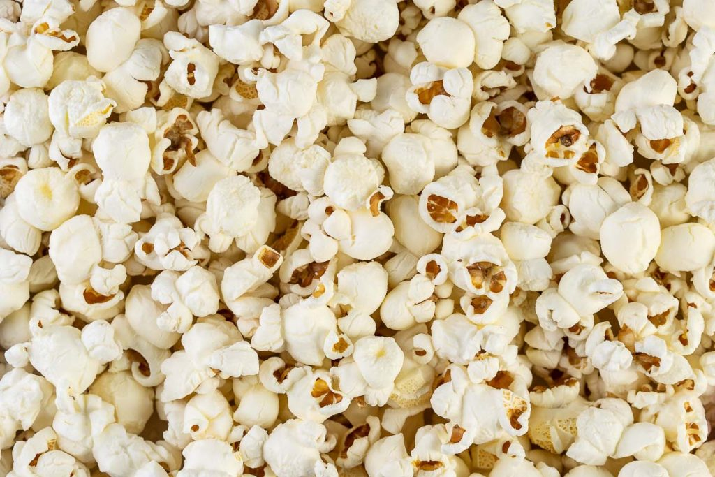 close up view of popped popcorn