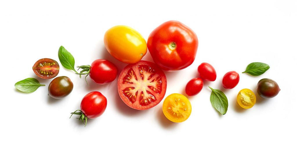 different colored tomatoes on white background
