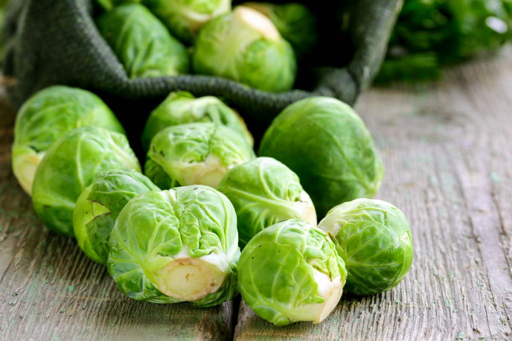 close up of brussels sprouts on table
